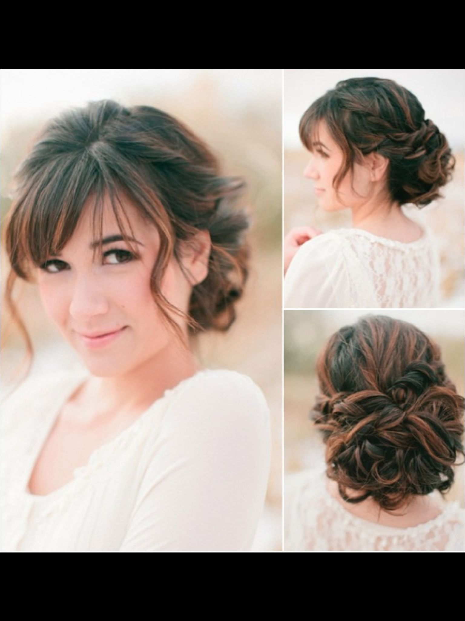 pretty updo for long curly hair with a fringe | if looks