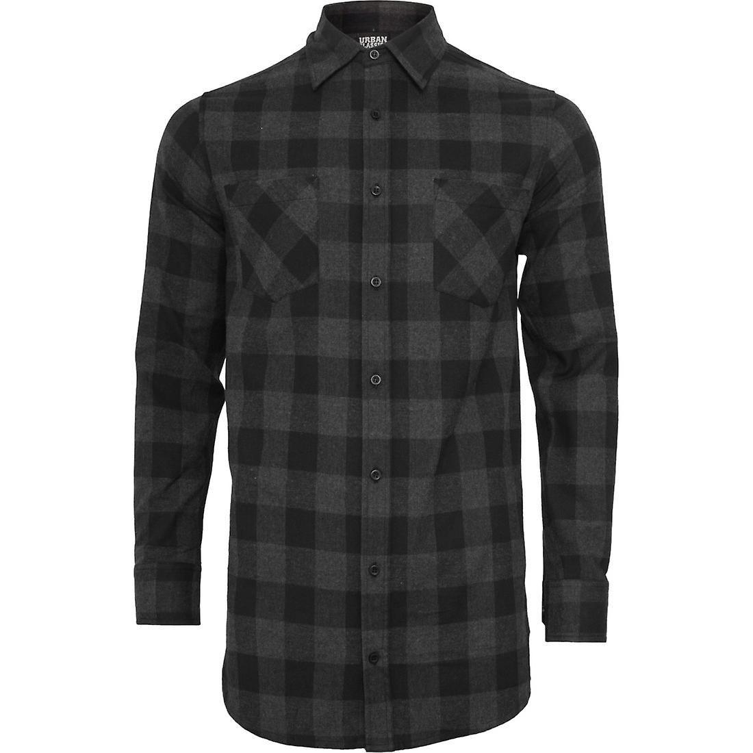 Flannel shirt ideas  Urban classics  LONG FLANNEL shirt black  charcoal  Christmas