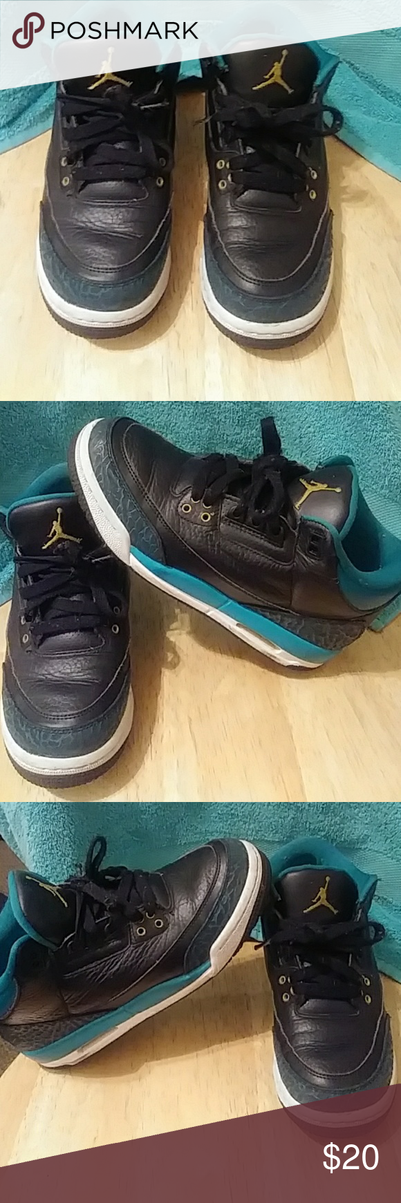 a392f83f5b5c20 Air Jordan 3 III Retro Gg Gs Air Jordan 3 III Retro Gg Gs Sz 6Y Jaguars Blk Gold  Rio Teal 441140 018 no insoles on both sneakers Jordan Shoes Sneakers