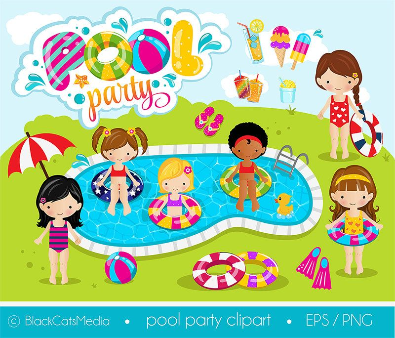 Girls Pool Party Clipart Digital Instant Download