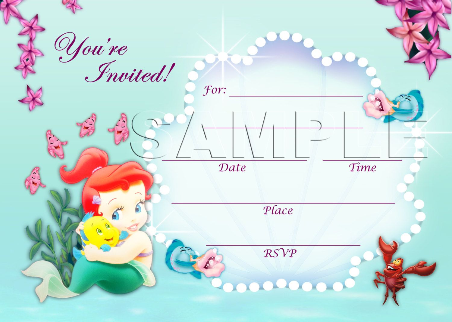 The Little Mermaid Invite - INSTANT DOWNLOAD - Disney Baby Princess ...