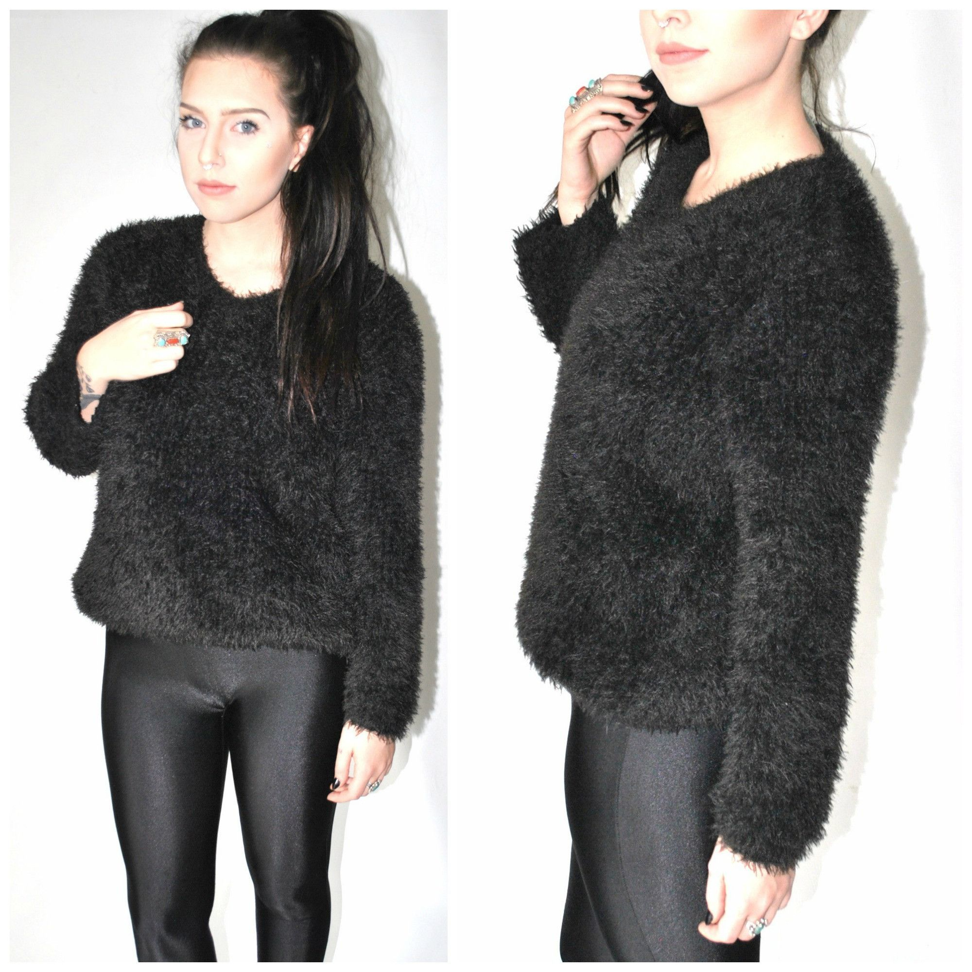 fuzzy black 90s club kid cropped sweater medium | My childhood ...