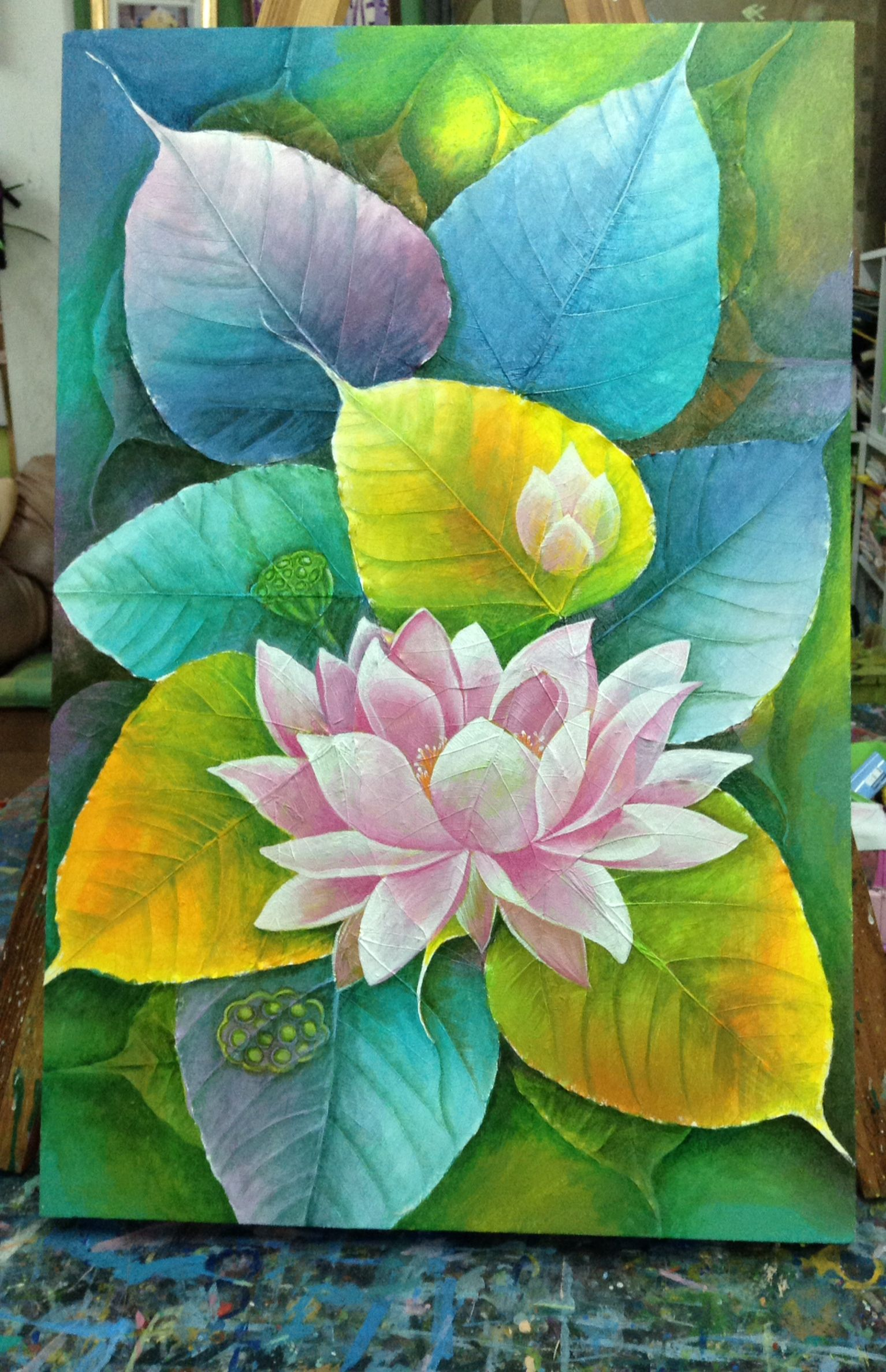 Beautiful Decorative Acrylic Painting Lotus Flower On A Canvas Made