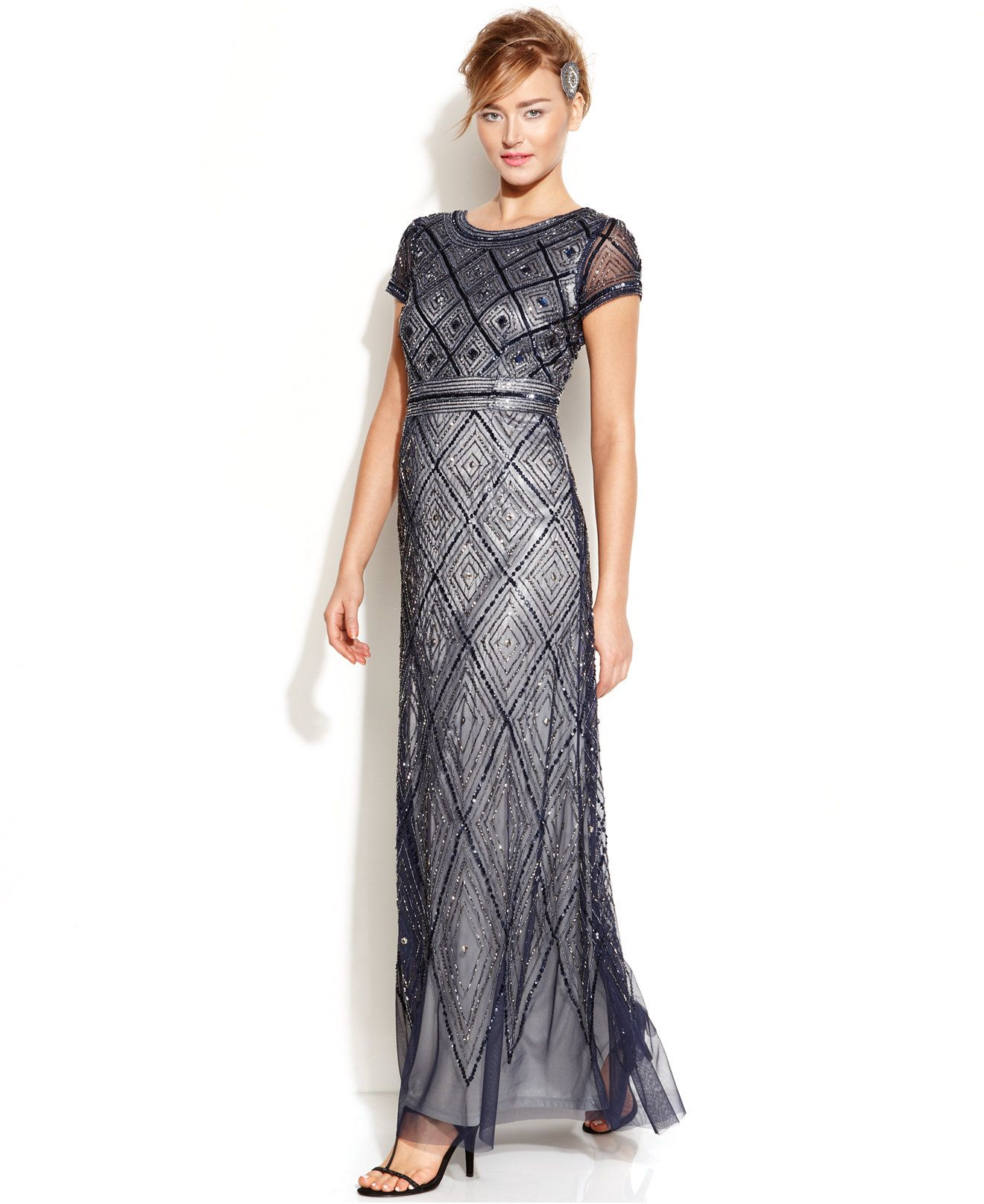 Adrianna papell capsleeve beaded illusion gown dresses women