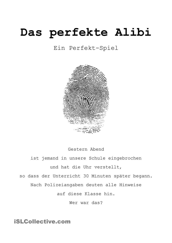 Das perfekte Alibi (ein Perfekt-Spiel) | Spiel, Deutsch und Schule