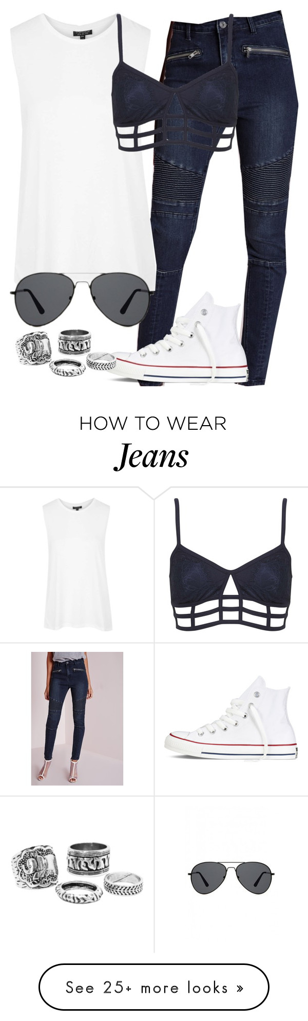"""""""biker jeans insp"""" by littlemixmakeup on Polyvore featuring Topshop, Converse and Missguided"""