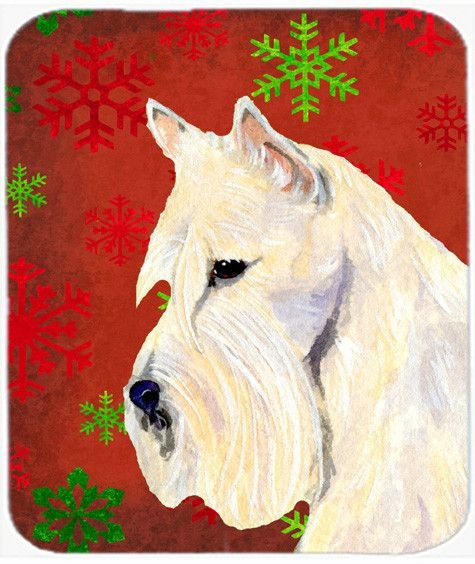 Scottish Terrier Snowflakes Christmas Mouse Pad, Hot Pad or Trivet