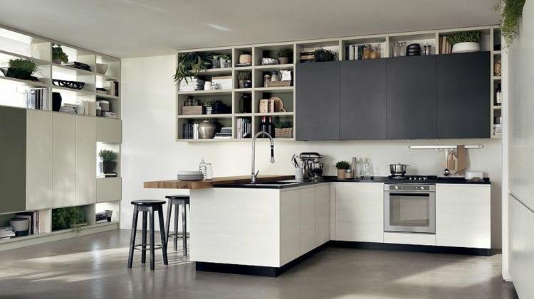 Cuisine ouverte sur salon de design italien moderne Salons