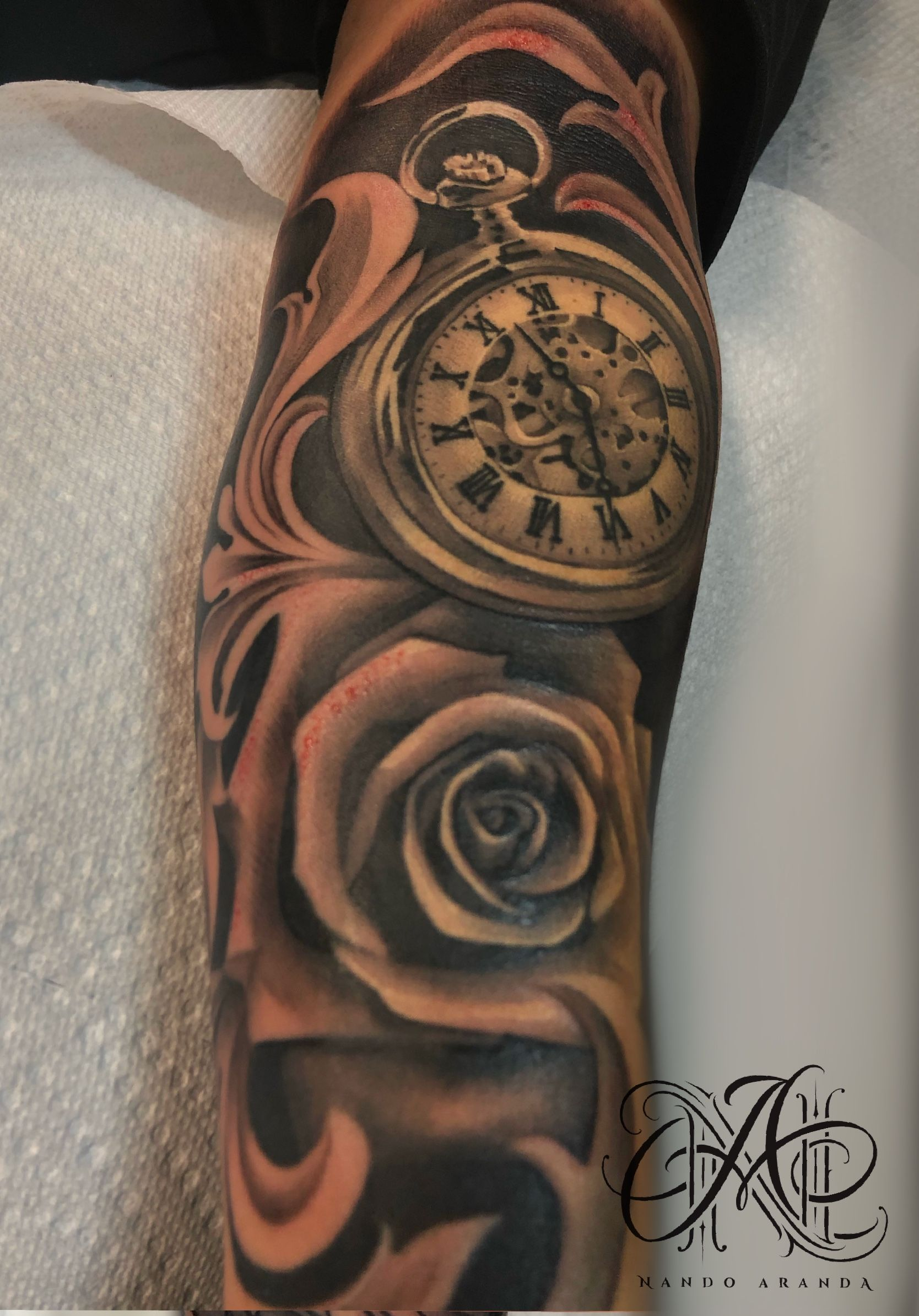Pocket Watch With Rose Tattoo Watch Tattoos Hand Tattoos Pocket Watch Tattoo