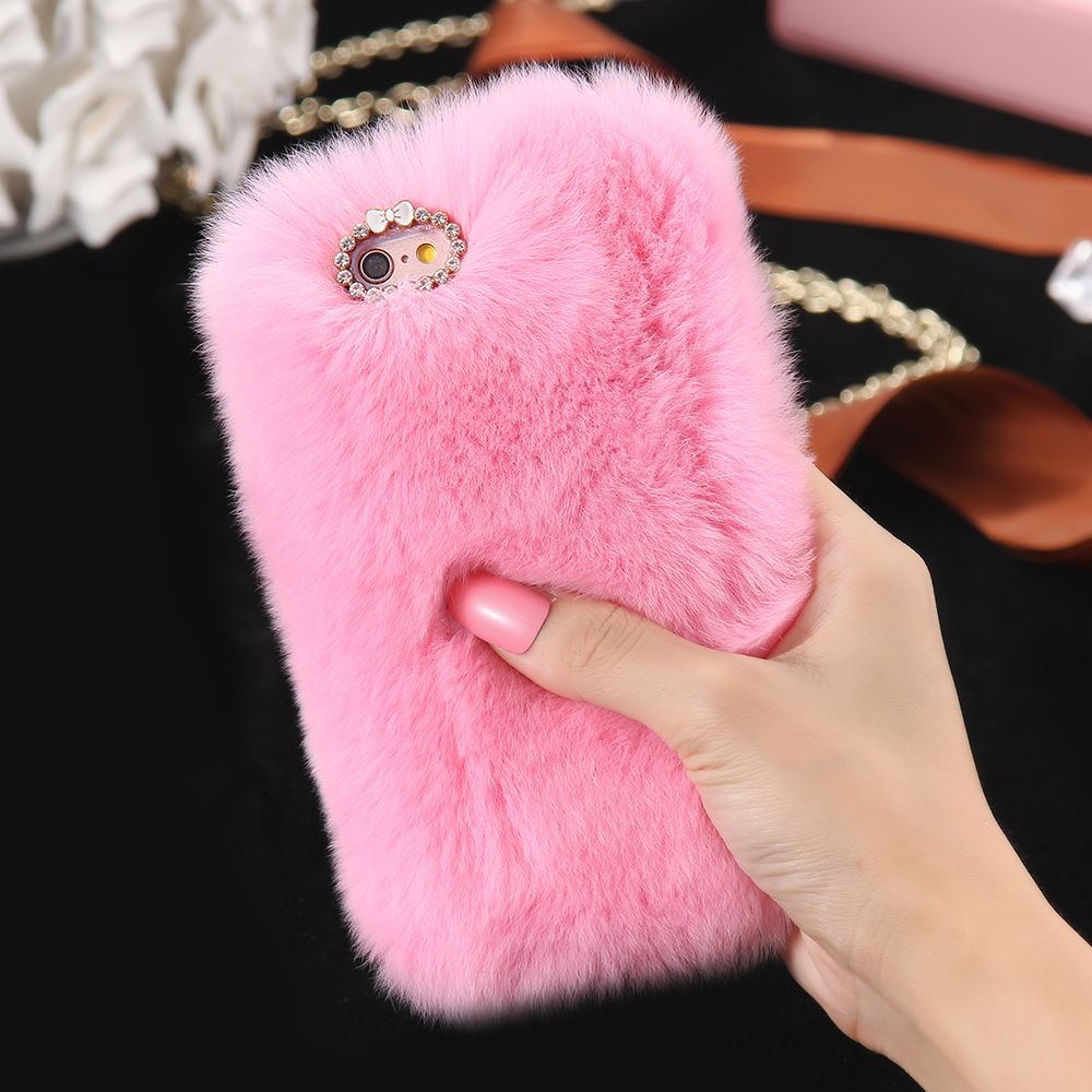 best sneakers b159c a1998 5S 6S 7 Plus Bling Rhinestone Real Rabbit Fur Cover For iPhone 5 5S ...