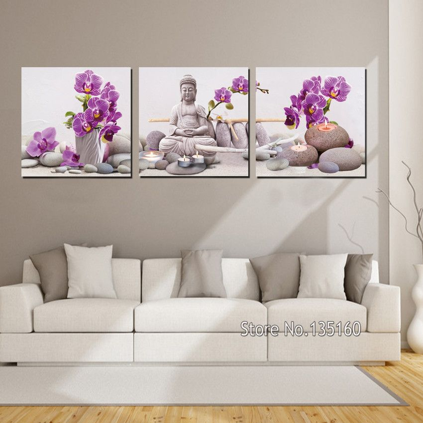 3 Panel Large Decor Wall Art Orchid Flower Buddha Painting Stones ...