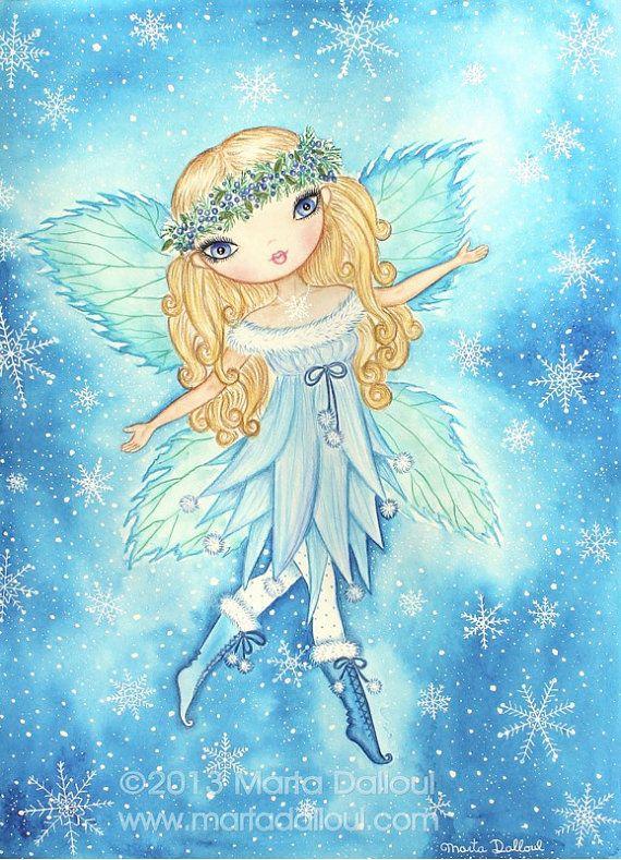 Féerie art aquarelle originale. Neige fée illustration fantaisiste. Cadeau pour les femmes elle. Poupée mignonne hiver peinture. Fille de fée bleue de gros yeux.