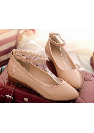 Elegant Apricot with Buckle Flat Heel Cusp Shoes
