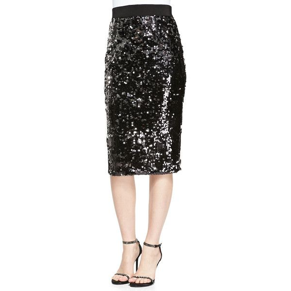 Milly Sequined Slim Pencil Skirt ($270) found on Polyvore