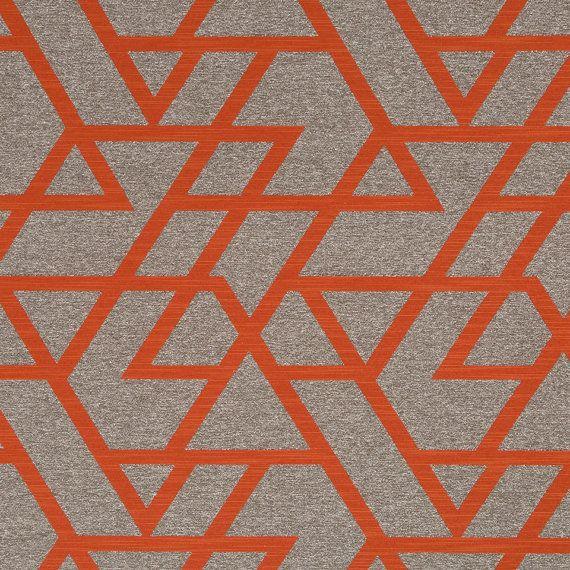 Orange Geometric Upholstery Fabric   Taupe Home Decor Fabrics   Modern  Tangerineu2026