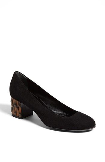 b172fcaf5 A blocky bamboo-shaped heel adds a boost of catchy contrast style to a  round-toe pump crafted from Italian suede. Color(s): nero. Brand: Gucci.