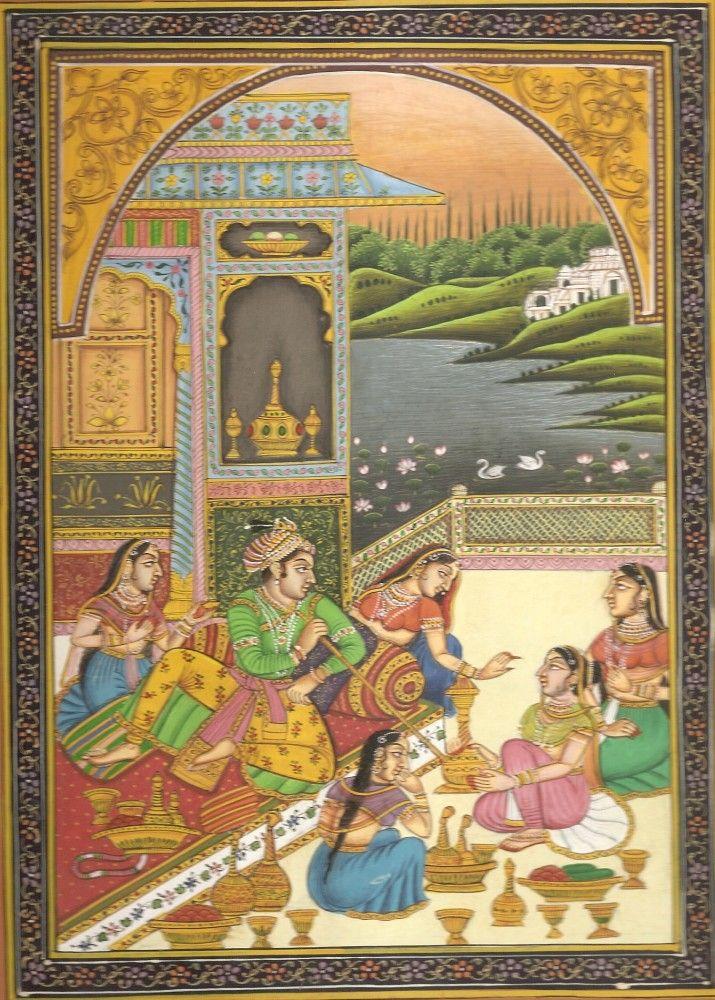 Mughal Indian Miniature Painting of Harem | Mughal paintings, Miniature  art, Art