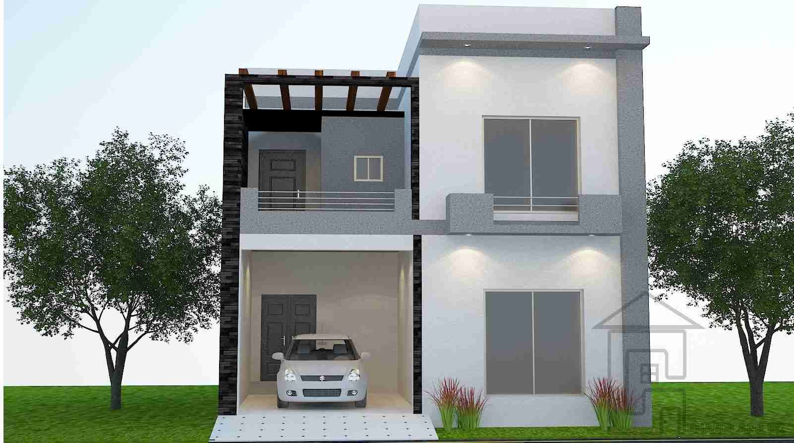 Front Design Of 5 Marla House Part - 44: This Is A Standard 5 Marla House Front Design With The Complete Layout Plan  As It