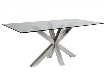 Mars Clear Glass Dining Table with X Shaped Steel Base  TABLES