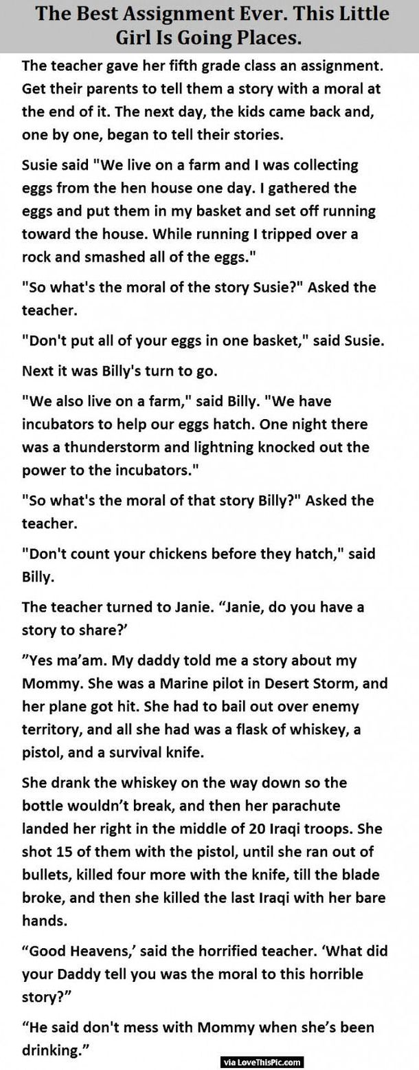 The Best Assignment Ever This Little Girl Is Going Place Funny