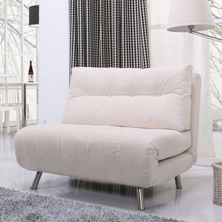 Overstock Gold Sparrow Tampa Ivory Convertible Big Chair Bed