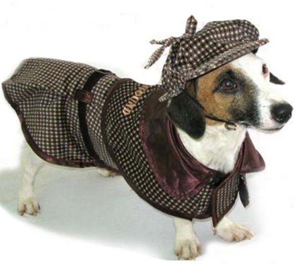 Deluxe Sherlock Bones Holmes Tweed Costume Coat With Hat Dog Halloween Costumes Dog Costume Pet Costumes