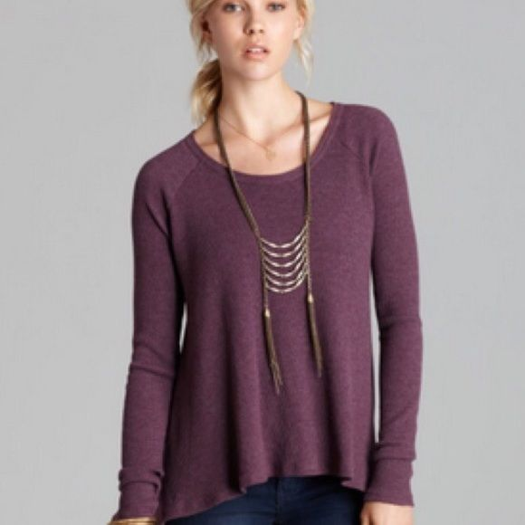 Free People Purple Waffle Thermal Rockability Top Cotton/polyester. Machine wash. Scoop neck, long sleeves. Size Small but can fit a medium . Color: Aubergine. Worn a few times. Free People Tops
