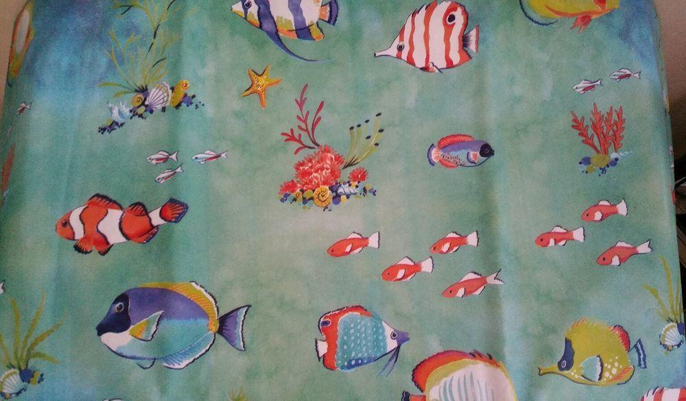 Summer Fun Vinyl Aqua Tablecloths Tropical Fish, 3 Sizes