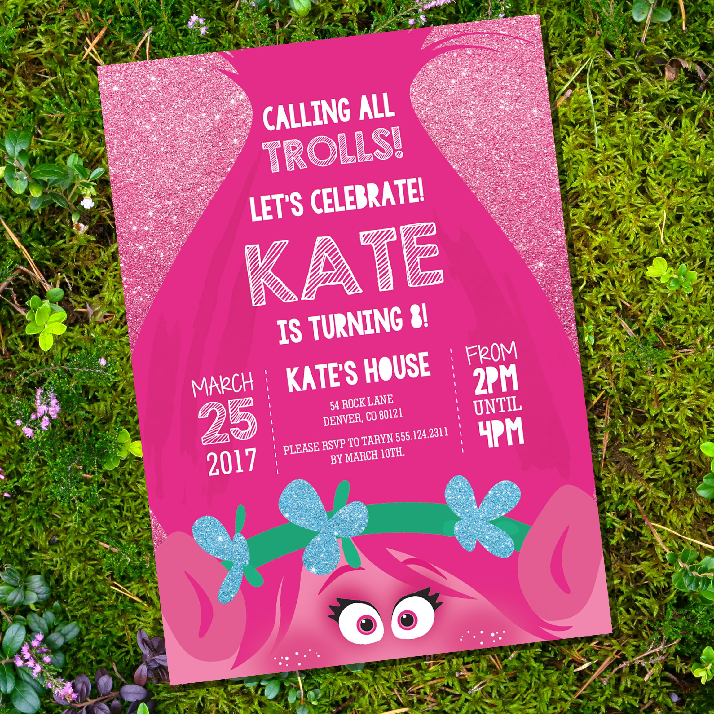 It's just an image of Ridiculous Printable Trolls Birthday Invitations