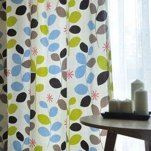 知秋 北欧简约宜家风格100%纯棉环保印花定制窗帘客厅餐厅窗帘
