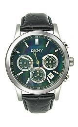 DKNY Chronograph Black Leather Mother-of-pearl Dial Women s watch
