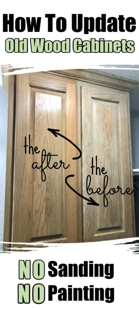 How to update old wood kitchen cabinets-no sanding or painting -