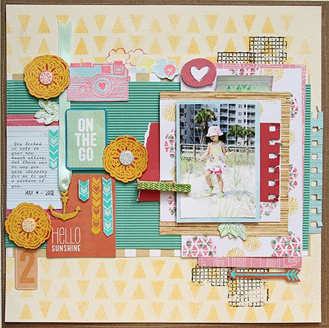 I looks complicated but is suprisingly easy to recreate this. If you buy coordinating embellishments from our New Amercian Crafts range, then just layer them up. Dont be shy! I made a page similar to this on the wekend and it was one of the easiest I have ever  done! #americancrafts #layouts