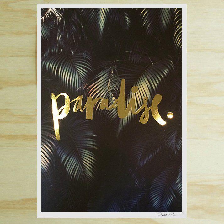 Paradise Gold Foil Print - $113