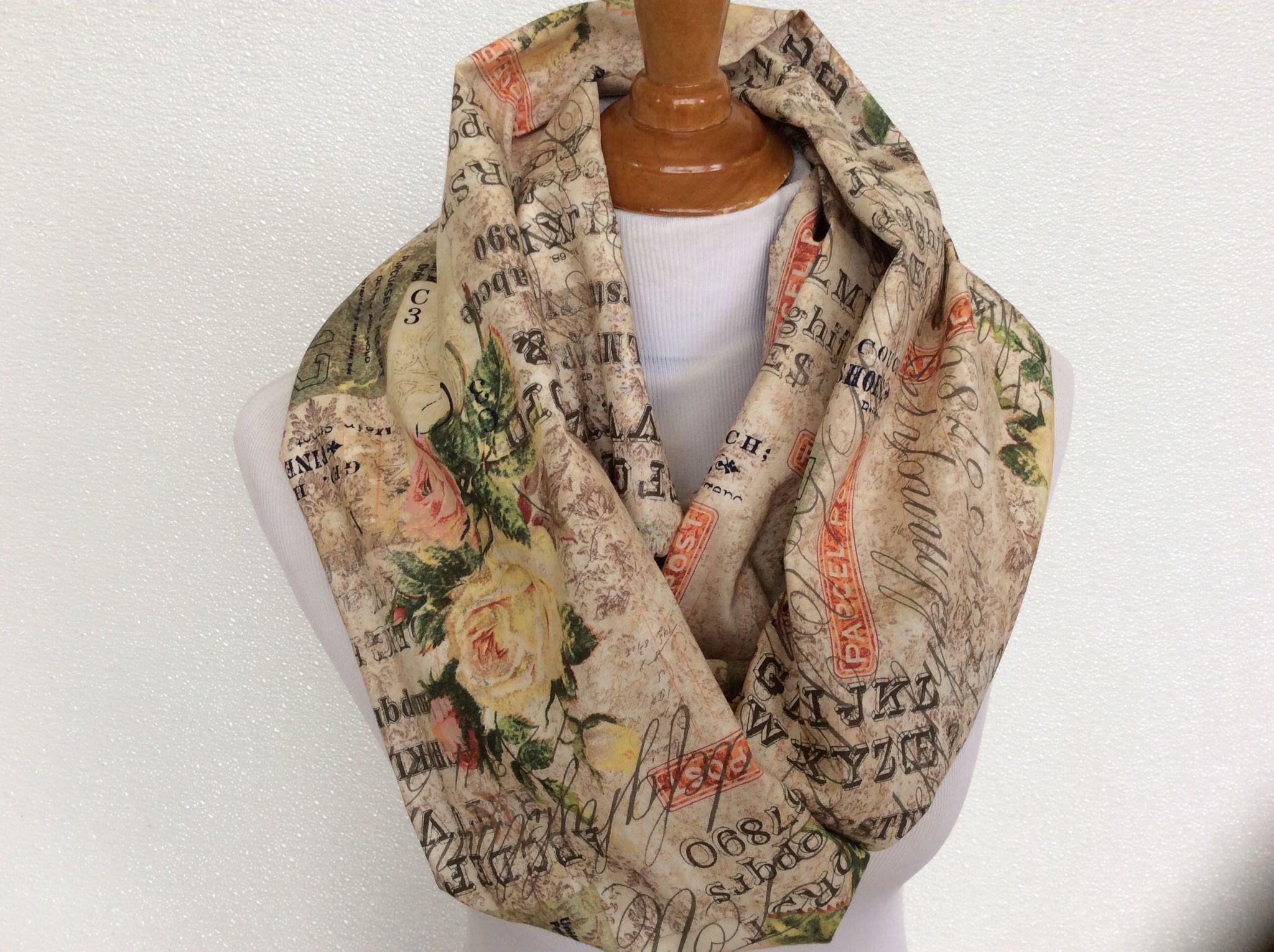 https://www.etsy.com/shop/Natalyfashion. The Rose ParcelMulti print cotton infinity scarf
