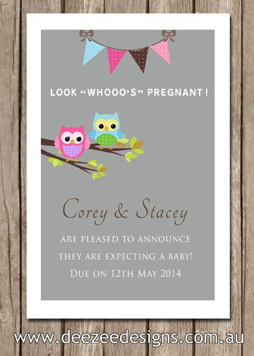 Personalised Owl Pregnancy Baby Announcements You By Deezeedesign