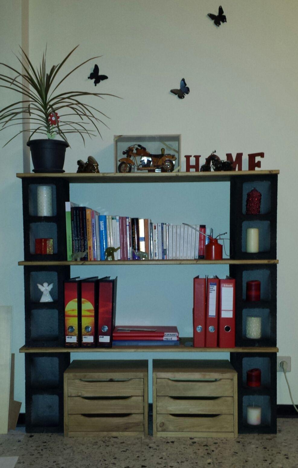 My 1st Handmade Bookshelf Cinder Blocks Wood Love The Result Sorry
