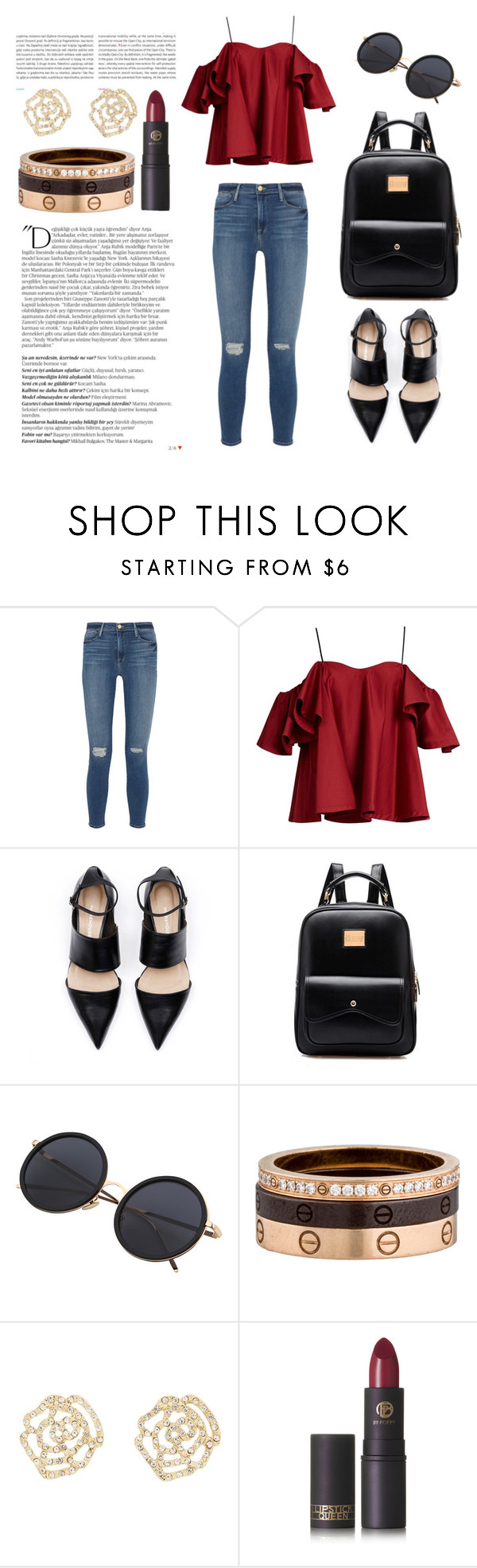 """""""Untitled #235"""" by jasmine-abdallah on Polyvore featuring Oris, Frame Denim, Anna October, Balmain, Cartier, Charlotte Russe and Lipstick Queen"""
