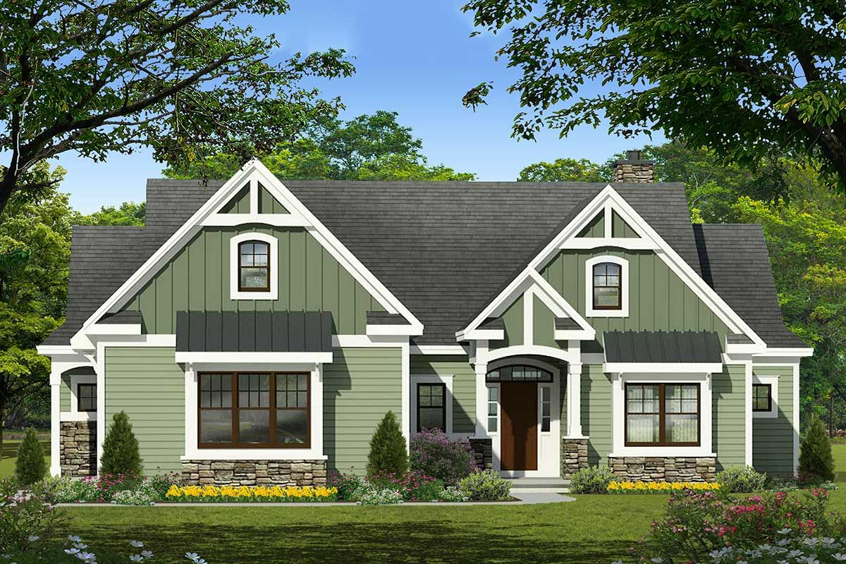 Plan 790035glv One Story 3 Bed House Plan With Arts And Crafts Feel In 2021 House Plans One Story Bungalow House Plans House Plans