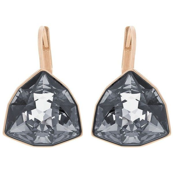 Swarovski Brief Rose Gold-Tone & Silver Night Crystal Drop Earrings ($79) ❤ liked on Polyvore featuring jewelry, earrings, black, swarovski earrings, silver drop earrings, silver earrings, black silver earrings and crystal drop earrings