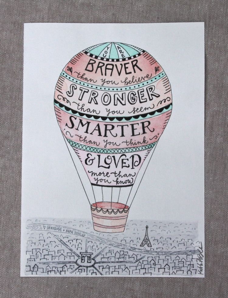 Amazing Hot Air Balloon Quote Zinnia Hand Lettered Design All