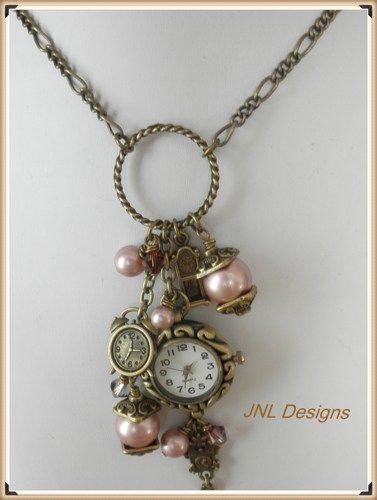 Romantic Vintage Looking Watch Charm Necklace Jnldesigns