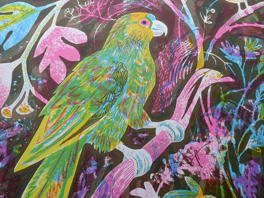 "Mark Hearld ""Still Life with Amazon Parrot"" lithograph (detail) http://www.stjudesprints.co.uk/collections/mark-hearld/products/still-life-with-amazon-parrot"