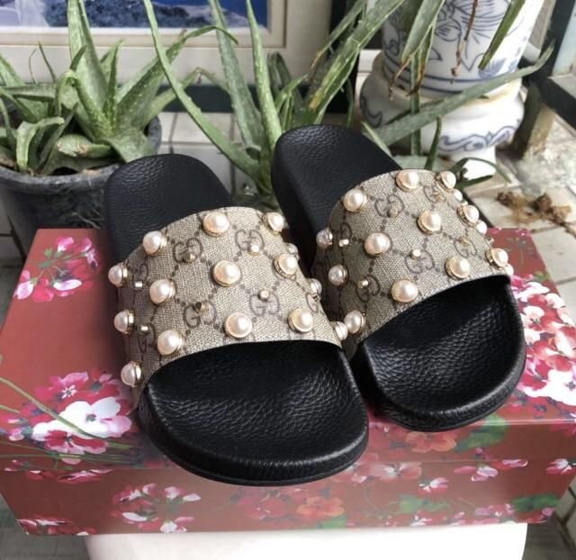 7a0ffd59dd5 Gucci Inspired GG Supreme Slides with Pearls