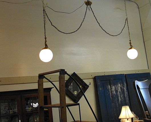 Vintage Double Swag Light Fixture With