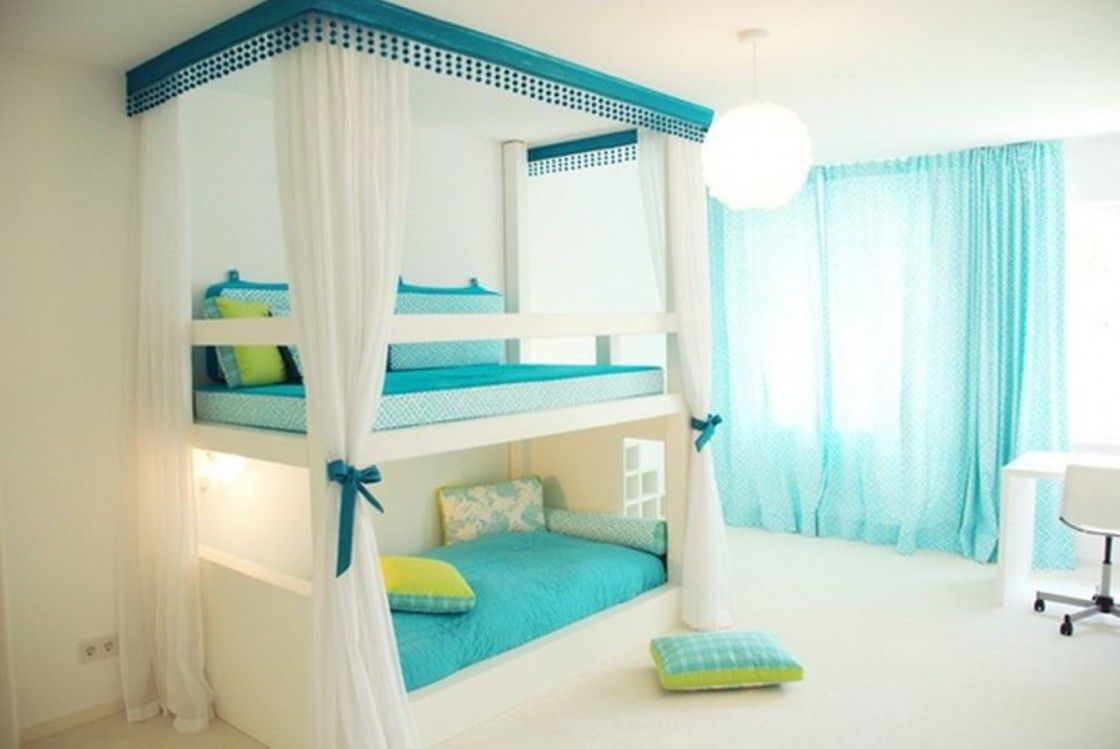 High Quality Charismatic Twins Bedroom Design Ideas For Small Spaces With Bunk Beds  Which Has White Mosquito Net