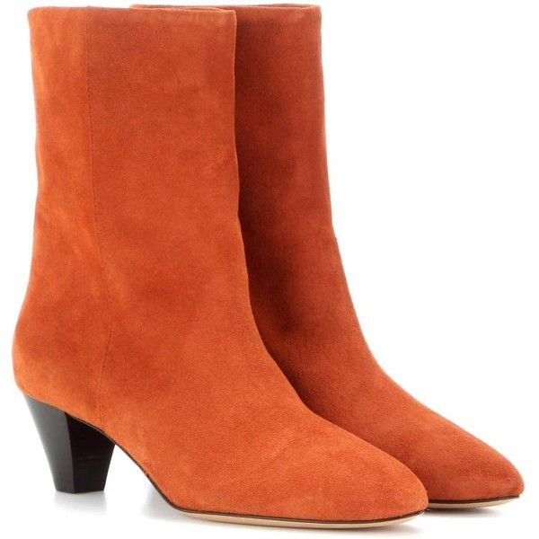 Isabel Marant Étoile Dyna Suede Boots ($580) ❤ liked on Polyvore featuring shoes, boots, orange, isabel marant, suede shoes, suede leather shoes, orange shoes and orange boots