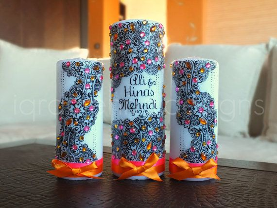 Henna inspired Wedding Candle Set.    This candle set consists of 3 pieces:    - 2 medium pillar candles  - 1 tall pillar candle    The candles