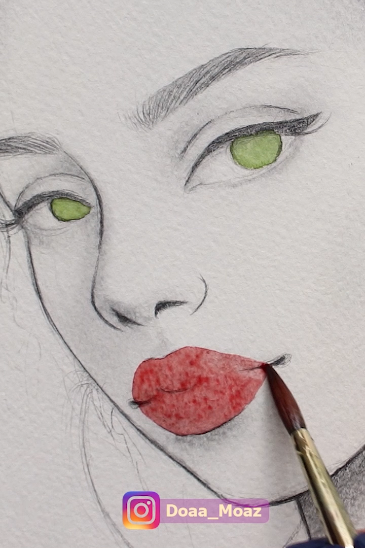 African girl portrait with green eyes and red lips, mixing graphite pencils with watercolors ♥