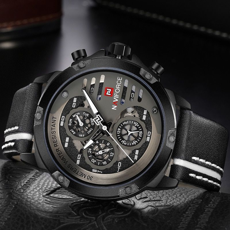 Men S Fashion Sports Watches Waterproof Leather Strap Creative Analog Quartz Wrist Watch Men Clock Relogio Masculino In 2020 Mens Watches Leather Watches For Men Wristwatch Men